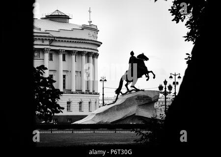 Black and white photography of the monument of Peter the Great, informally known as the Bronze Horseman, in St. Petersburg, Russia - Stock Photo