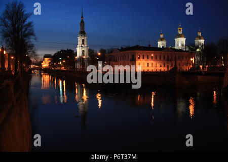 Night view of the leaning bell tower of the St. Nicholas Naval Cathedral in St. Petersburg, Russia - Stock Photo