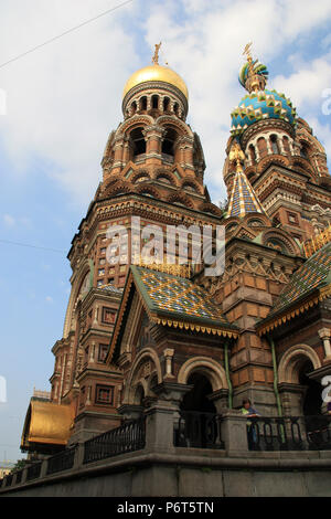 The colorful onion domes of the Church of the Savior on Spilled Blood in St. Petersburg, Russia - Stock Photo