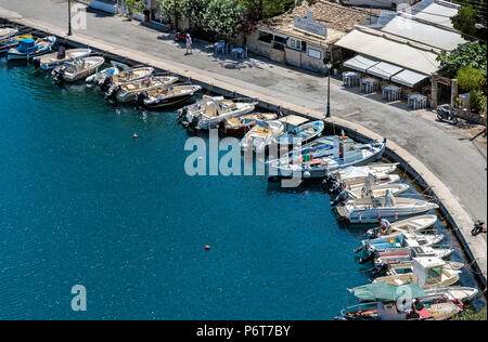 Boats moored at the harbour at Giaos, Paxos. - Stock Photo