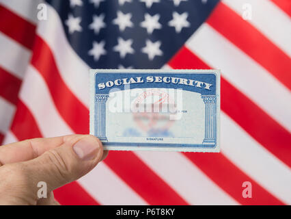 Social security card and resident alien card. Green card american dream concept - Stock Photo
