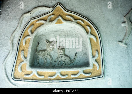 Animal decoration on wall of Gond Hut of Mandla District in the National Crafts Museum, New Delhi, Delhi, India - Stock Photo