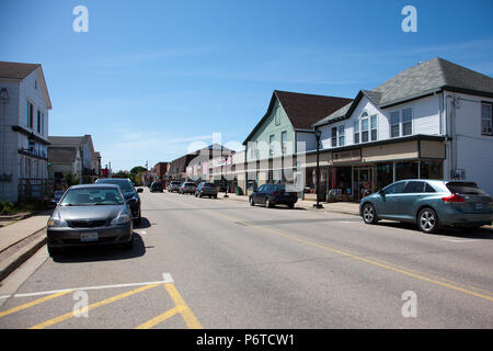 June 4, 2018- Middleton, Nova Scotia: The downtown area of the quaint community of Middleton, this photo taken on Commercial Street showing local shop - Stock Photo