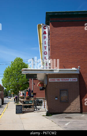 June 4, 2018- Middleton, Nova Scotia: The historic Capitol building in Middleton which used to be a movie theatre, is now a popular restaurant - Stock Photo