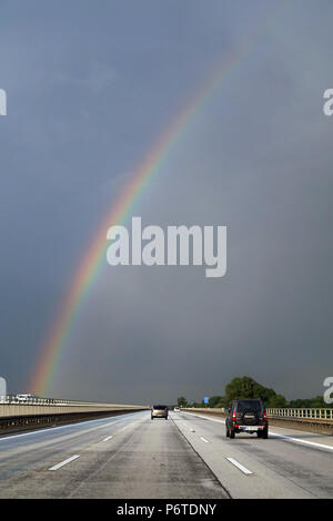 Magdeburg, Germany, rainbow over the A2 - Stock Photo