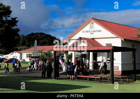 People at Te Tii Waitangi Marae on Waitangi Day, Bay of Islands, New Zealand - Stock Photo