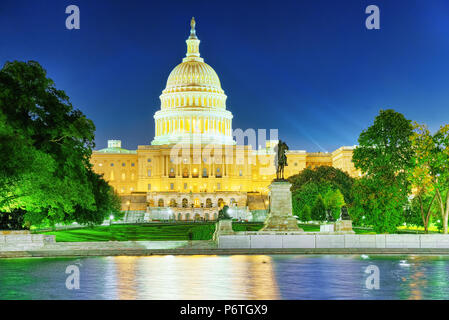 United States Capitol, Capitol Building,home of the United States Congress and Ulysses S. Grant Memorial, Capitol Reflecting Pool. - Stock Photo
