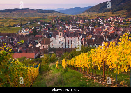 France, Haut-Rhin, Alsace Region, Alasatian Wine Route, Riquewihr, town view, dawn, autumn - Stock Photo
