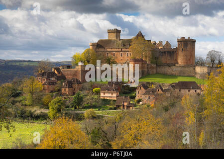 Castelnau-Bretenoux in the autumn, Lot, Midi-Pyrenees, France - Stock Photo