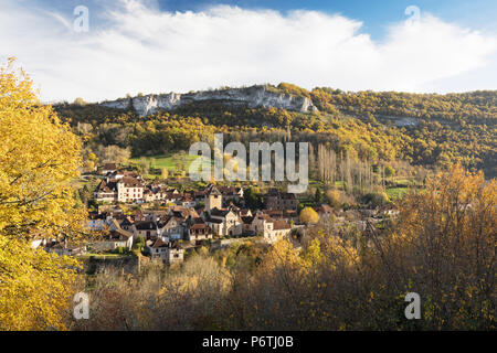 The village of Autoire in the autumn, Lot, Midi-Pyrenees, France - Stock Photo