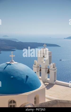 Firostefani, Fira, Santorini (Thira), Cyclades Islands, Greece - Stock Photo