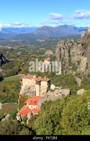 Greece, Thessaly, Meteora, Holy Monastery of Rousanou - Stock Photo