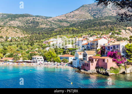 Assos harbour, Kefalonia, Greek Islands, Greece - Stock Photo