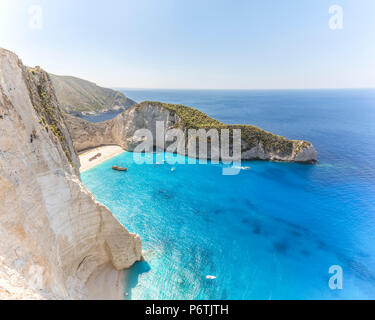 Elevated view of famous shipwreck beach. Zakynthos, Greek Islands, Greece - Stock Photo