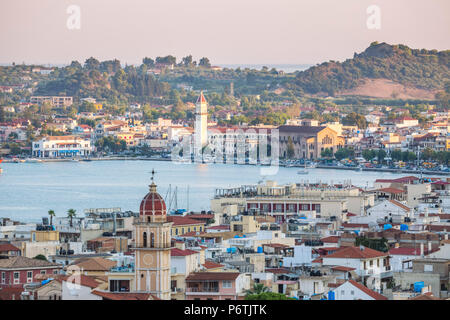 Zakynthos town and harbour at sunset, Zakynthos, Greece - Stock Photo