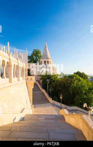 Hungary, Central Hungary, Budapest. Fisherman's Bastion takes it's name from the guild of fishermen responsible for defending this stretch of the city during the Middle Ages. - Stock Photo