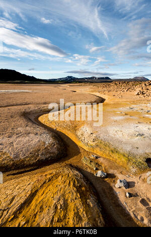 Hverir, Krafla caldera, Myvatn region, Northern Iceland. Geothermal activity. - Stock Photo