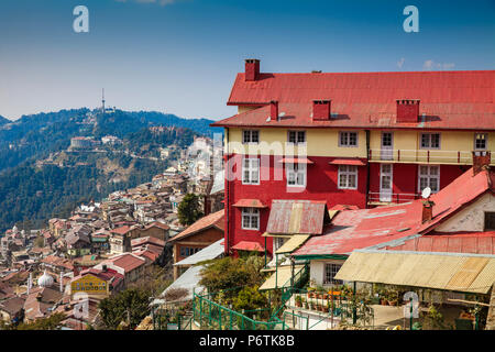 India, Himachal Pradesh, Shimla, View of  City center - Stock Photo