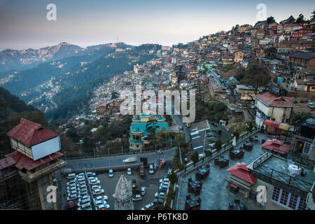 India, Himachal Pradesh, Shimla, View of Doegar hotel terrace, Cart Road, the City and surrounding hills - Stock Photo