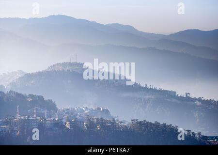 India, Himachal Pradesh, Shimla, View of mountains from The Ridge at dawn - Stock Photo