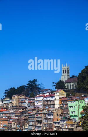 India, Himachal Pradesh, Shimla, View over city looking towards Christ Church - Stock Photo
