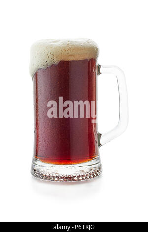 Mug of dark beer woth flow down foam on white - Stock Photo