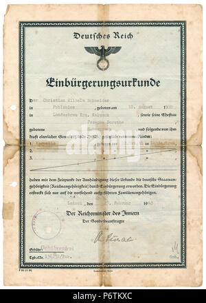 Certificate of Nationality, 1940, Third Reich / Nazi Germany Period - Stock Photo