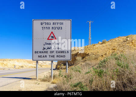 Trilingual warning sign, beware of camels near the road, in the Negev desert, southern Israel - Stock Photo