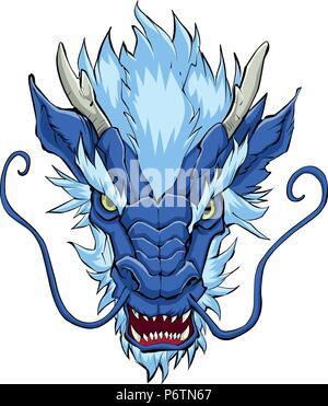 Chinese Dragon Head Blue - Stock Photo