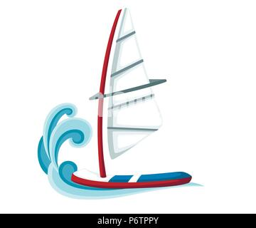 Cartoon sailing board on water. Equipment for windsurfing. Sailboard vector illustration isolated on white background. - Stock Photo