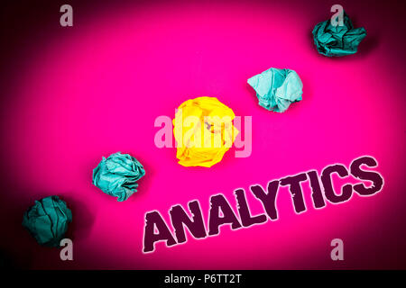 Text sign showing Analytics. Conceptual photo Data Analysis Financial Information Statistics Report Dashboard Ideas concept pink background crumpled p - Stock Photo