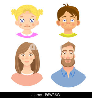 Emotions of human face. Set of avatars with different emotions. Illustration - Stock Photo