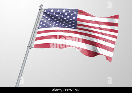 Isolated United State of America Flag waving 3d Realistic fabric - Stock Photo