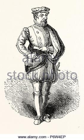 Statue Sir Thomas Gresham, English merchant and financier, London, England, engraving 19th century, Britain, UK. - Stock Photo