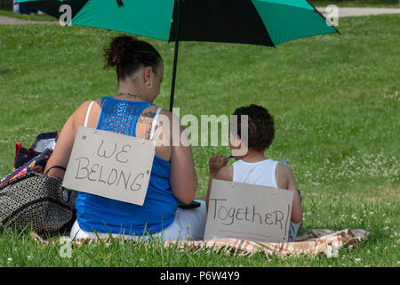 Detroit, Michigan - Protesters oppose the Trump administration's policy of separating young children from their parents at the U.S.-Mexico border. The - Stock Photo