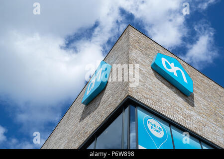 Albert Heijn sign at branch. Albert Heijn is the largest Dutch supermarket chain and a key brand of Ahold Delhaize, an international food retail group - Stock Photo