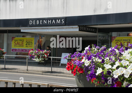 Exterior of the large Debenhams department store in Guildford town centre, Surrey, UK - Stock Photo