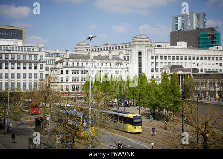 Piccadilly Gardens bus station Manchester city centre bus and Metrolink tram interchange - Stock Photo