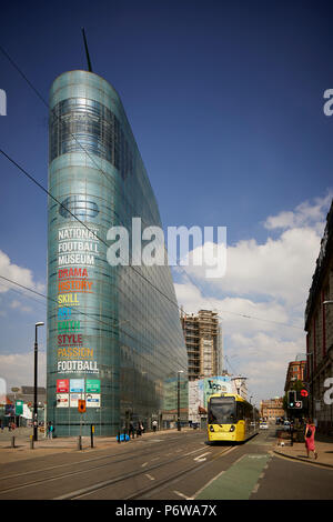 The National Football Museum is England's national museum of football. It is based in the Urbis building in Manchester city centre, designed by Ian Si - Stock Photo