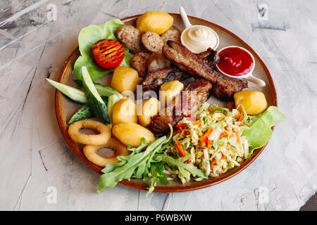 Delicious restaurahnt appetizers set for beer. - Stock Photo