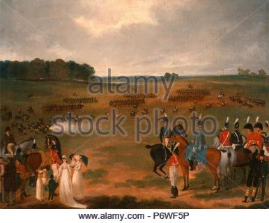 A Review of the London Volunteer Cavalry and Flying Artillery in Hyde Park in 1804 A Review of a Yeomanry Regiment of a Plain on the Outskirts of London, unknown artist, 18th century, British. - Stock Photo