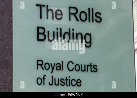 London, UK. 3rd July, 2018. A sign outside the Rolls Building of the Royal Courts of Justice. Credit: Mark Kerrison/Alamy Live News - Stock Photo