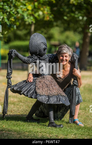 London, UK. 3rd July 2018. Laura Ford (pictured), Dancing Clog Girls, 2015, the New Art Centre - Frieze Sculpture, one of the largest outdoor exhibitions in London, including work by 25 international artists from across five continents in Regent's Park from 4th July - 7th October 2018. Credit: Guy Bell/Alamy Live News - Stock Photo