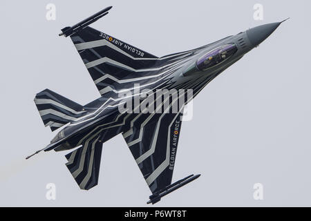 Fairford, UK. 3rd July, 2018. A Belgian F16 Aircraft at Royal International Air Tattoo 2018 in Fairford, UK. Aircraft are the stars of the Air Tattoo2018, a full three days of airshows with over 7 hours of flying on Friday, Saturday and Sunday in 2018. The Royal International Air Tattoo will begin on Friday, July 13 Credit: SIPA Asia/ZUMA Wire/Alamy Live News - Stock Photo