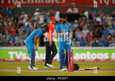 Emirates Old Trafford, Manchester, UK. 3rd July, 2018. International Twenty20 cricket, England versus India; Credit: Action Plus Sports/Alamy Live News - Stock Photo