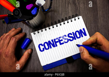 Handwriting text writing Confession. Concept meaning Admission Revelation Disclosure Divulgence Utterance Assertion Man hold holding marker notebook i - Stock Photo