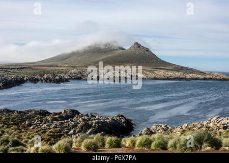 The rocky peaks of Steeple Jason Island, Falkland Islands - Stock Photo
