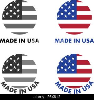 Made in USA label. Red stripes and white stars on blue field, clipped to circle with text below. Black & white / color version. - Stock Photo