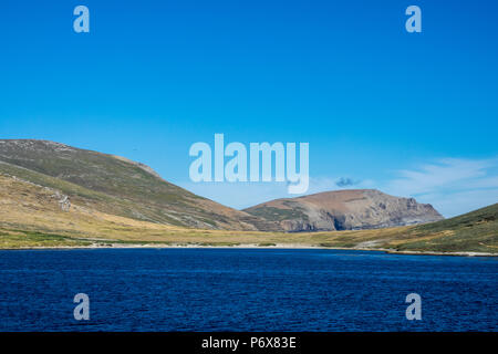 Sailing in Byron Sound towards Grave Cove, West Falkland, Falkland Islands - Stock Photo