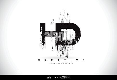 Hd brush letter logo design with black circle creative brushed hd h d grunge brush letter logo design in black colors creative brush letters vector illustration thecheapjerseys Image collections
